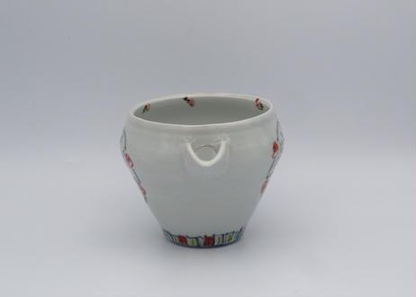 松尾貞一郎 色絵磁器花鳥紋の片口