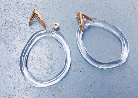 Clear Oval Charm Earrings【セット商品】