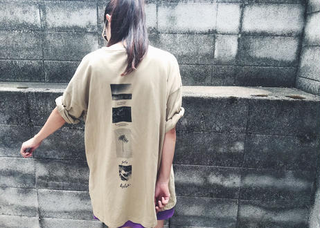 【Relax】Back Print Big Silhouette Tee ( Beige )