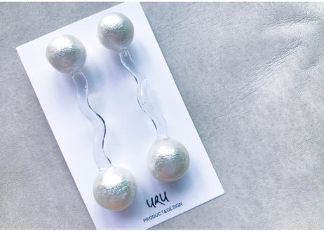 Pearl+Clear Line Earrings