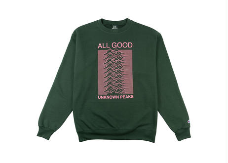 ALL GOOD Unknown Peaks Crewnecks Dark Green
