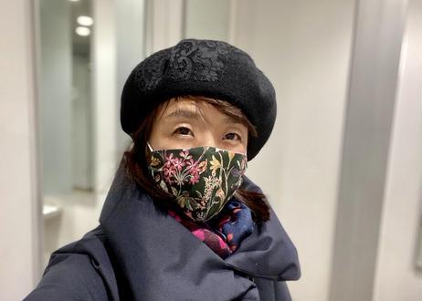 リバティ・立体おしゃれマスク・フローティングフローラ・パープル