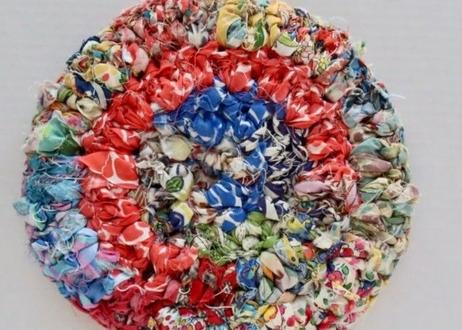 リバティ裂き編みコースター(12)・Mサイズ・直径約12.5cm