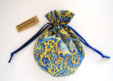 リバティキャンディ巾着・リーズル・イエローブルー