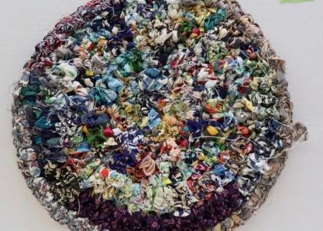 リバティ裂き編みコースター(20)・LLサイズ・直径約18.5cm