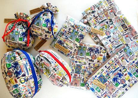 リバティキャンディ巾着・コスメ柄・フォゲットミーノット・ブルー(リボン青)