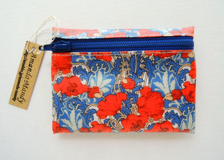 リバティラミネートポーチ(小)クレメンティナ・オレンジブルー