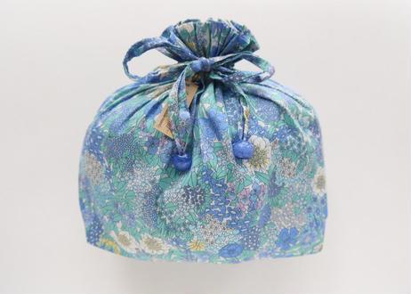 リバティトラベル巾着・シアラ・水色