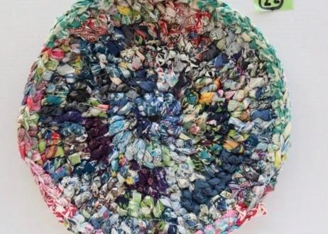 リバティ裂き編みコースター(22)・LLサイズ・直径約20cm