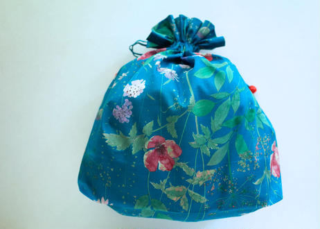 トラベル巾着大・イルマ・グリーンブルー