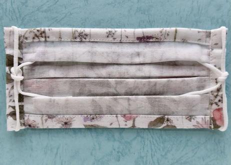 リバティダブルガーゼプリーツマスク(Mサイズ)・イルマ・ホワイトピンク