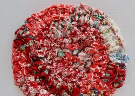 リバティ裂き編みコースター(15)・Mサイズ・直径約12.5cm