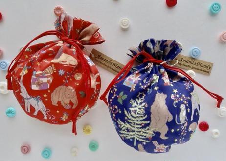 リバティキャンディ巾着・リバティクリスマス・レッド(お客様レビューあり)