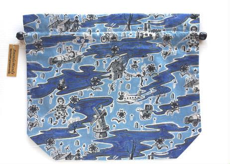 リバティトラベル巾着・フロー・ブルー