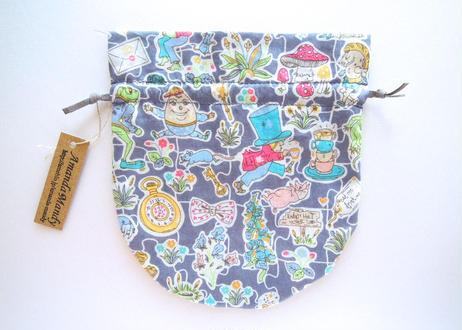 リバティキャンディ巾着・ギャリーモジャースレイナード(アリス柄)・グレー