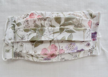ハッピーマスク・軽やかリバティダブルガーゼ(Mサイズ)・イルマ・ホワイトピンク