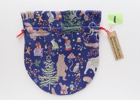 リバティキャンディ巾着・リバティクリスマス・ネイビー(お客様レビューあり)
