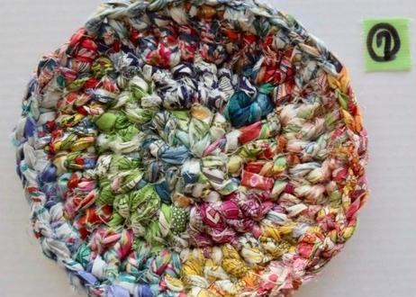 リバティ裂き編みコースター(7)・Sサイズ・直径約11cm(お客様レビューあり)