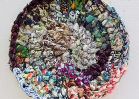 リバティ裂き編みコースター(13)・Mサイズ・直径約13.5cm