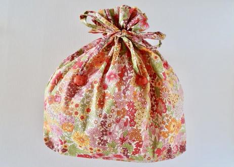 リバティトラベル巾着・マーガレットアニー・オレンジ