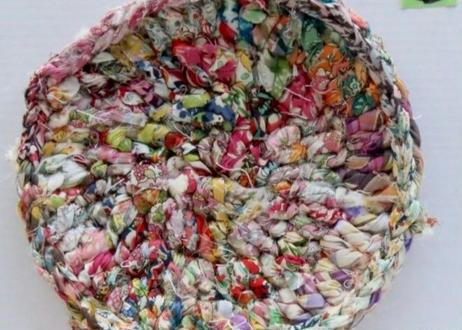 リバティ裂き編みコースター(14)・Mサイズ・直径約13.5cm