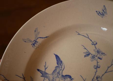 鳥と花 アンティークプレート 平皿 フランスアンティーク