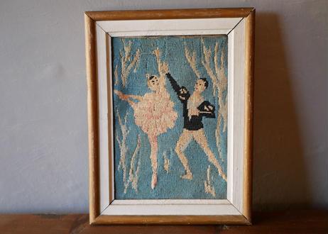 クラシックバレエ 刺繍 タペストリー フランスアンティーク