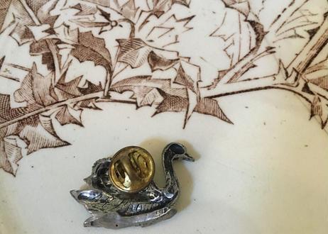 英アンティーク ピンブローチ 白鳥