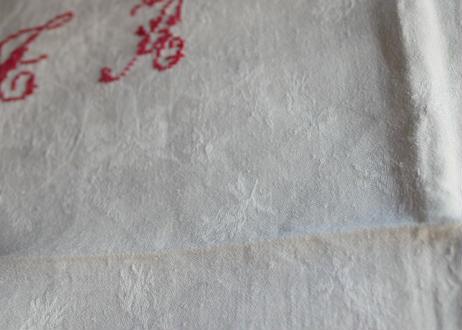 赤イニシャル ダマスク テーブルナプキン フランスアンティーク ブロカント