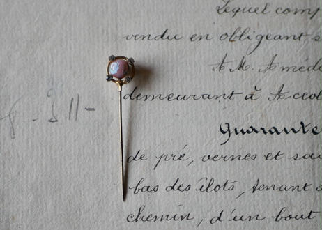 ピンクのマーブルストーン ハットピン フランスantique