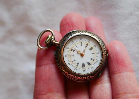 婦人用 懐中時計 フランスアンティーク 純銀 蟹のマーク
