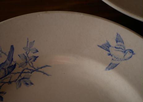 在庫→Aのみ 鳥と花 アンティークプレート 平皿 フランスアンティーク