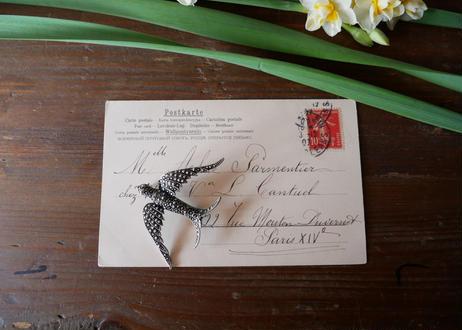 フランスアンティーク 幸せのツバメ ブローチ マーカサイト