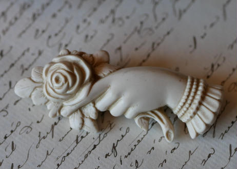 victorian brooch, Hand + white rose