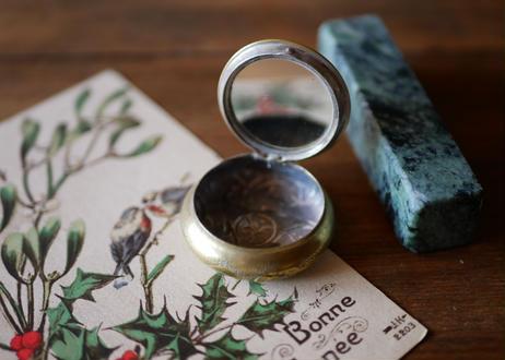 【ご予約 RESERVED】宿り木  プドリエール パウダーケース コンパクトミラー フランスアンティーク