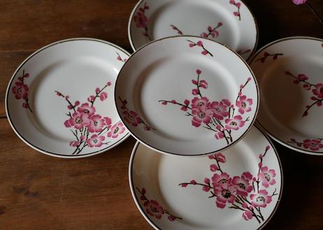 在庫→1 Fleurs de pêche 【桃の花】平皿 フランスアンティーク