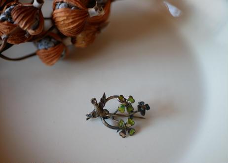 鳥とクローバー アンティークブローチ フランスアンティーク