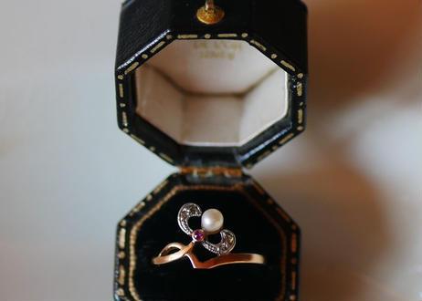 ヤドリギモチーフ 18K フランスアンティーク  指輪 アンティークリング
