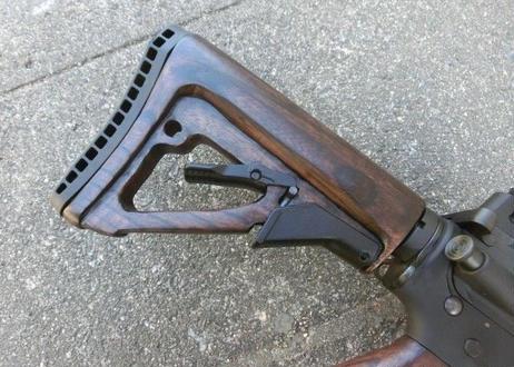 受注 マルイ M4 GBBシリーズ用 ウッドスライドストック製作