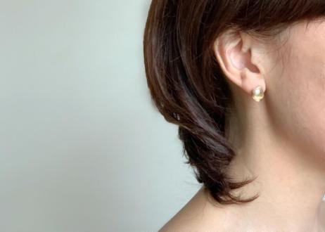 【SV925】押し花:Pierced Earrings(Gold×Pearl / Black×Pearl)