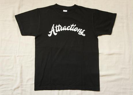 Attractions Logo S/S Tee(Body:Black, Print:White)