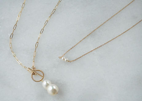 Akoya twin mantel necklace