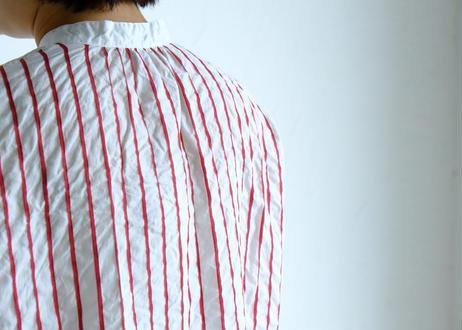【NATURAL LAUNDRY】ストライプサッカーフレンチシャツ#オフ×アカ