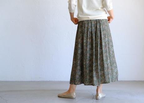 【TRAVAIL MANUEL 】ペイズリーptロングギャザースカート
