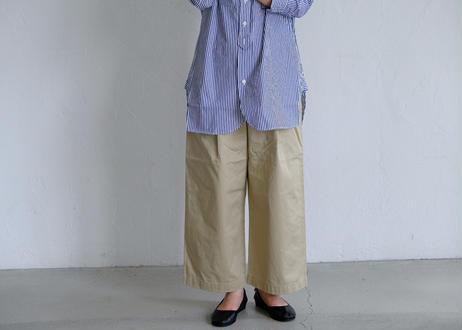 【TISSU】カッタウェイカフスワークシャツ  #ネイビーストライプ
