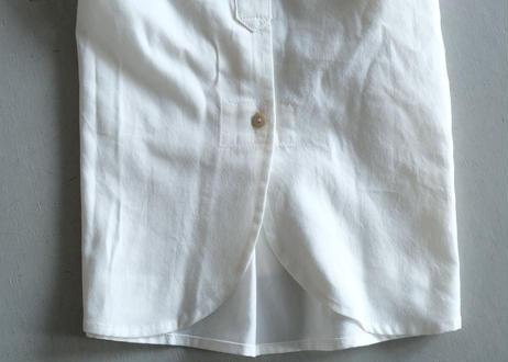 【AURA】コットンウール丸襟シャツ ホワイト