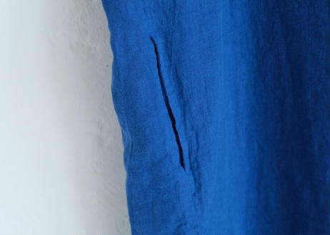 【grin】40リネンサックワンピース #ブルー
