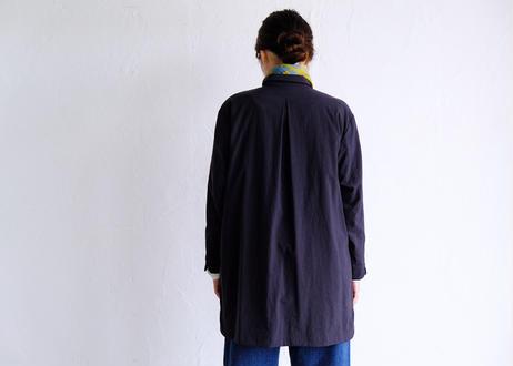 【AURA 】ナイロン天然染め チビ襟ハーフコート#black