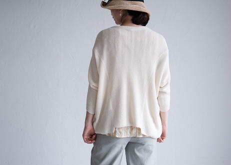 AURA シャーリングノースリシャツ  cream