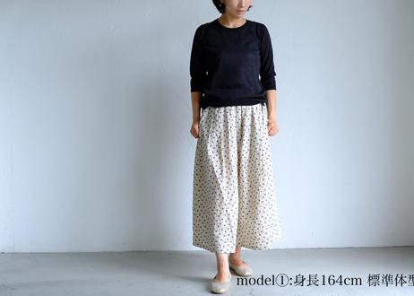 【NATURAL LAUNDRY】フラワー刺繍 タックスカート